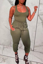 Green Casual Solid Split Joint U Neck Sleeveless Two Pieces