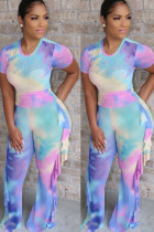 Light Blue Milk Silk Fashion adult Ma'am Street Patchwork Print Two Piece Suits Straight Short Sleeve Two Pieces