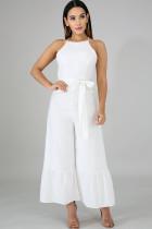 White Sexy zipper Draped Solid flax Sleeveless Slip Jumpsuits