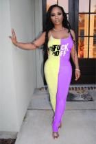 Yellow and purple Fashion Sexy Print Patchwork letter Polyester Sleeveless Slip Jumpsuits