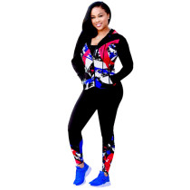 Red Button Fly Mid Graffiti Print Straight Pants Two-piece suit