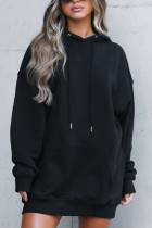 Black Fashion Casual Sportswear Polyester Cotton Blends Patchwork Solid Split Joint Draw String Hooded Collar Long Sleeve Mini Straight Dresses