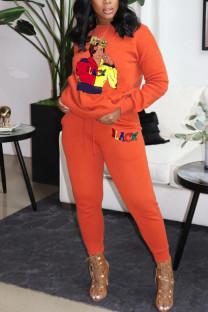 Orange Fashion Casual Print Basic O Neck Long Sleeve Two Pieces