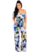 Blue Polyester Ruffles Bandage Print Casual Fashion Jumpsuits & Rompers