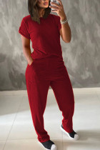 Wine Red Polyester Fashion Casual adult Ma'am Patchwork Solid Two Piece Suits Straight Short Sleeve Two Pieces