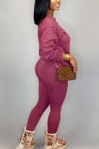 fuchsia Fashion Daily Adult Polyester Solid Split Joint O Neck Long Sleeve Regular Sleeve Regular Two Pieces