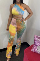 Orange Polyester Fashion Casual Print backless Tie Dye Two Piece Suits Loose Sleeveless Two Pieces