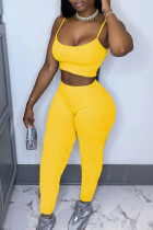 Yellow Casual Solid pencil Sleeveless Two Pieces