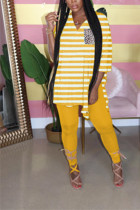 Yellow Milk Silk Casual Striped Print pencil Long Sleeve Two Pieces