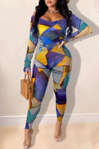 multicolor Sexy Print Bateau Neck Skinny Jumpsuits