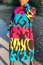 multicolor Street Print O Neck Long Sleeve Ankle Length Dresses