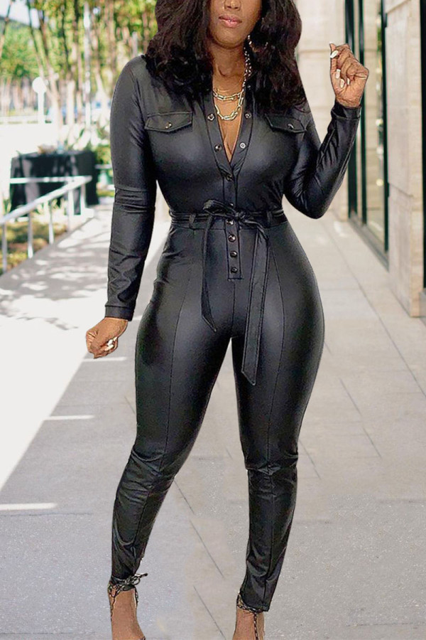 Black Casual Solid With Belt Turn-back Collar Jumpsuits