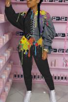 Black Fashion Casual Patchwork Print Strap Design O Neck Two Pieces