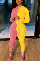 Pink Sportswear Patchwork contrast color Long Sleeve Two Pieces