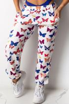 White Polyester Elastic Fly Mid Print Harlan pants Pants Bottoms