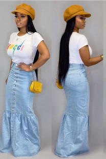 Blue Cotton Button Fly Mid Patchwork Solid Draped Mermaid skirt Bottoms