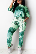 Green Polyester Fashion adult Ma'am Street Patchwork Print Two Piece Suits Straight Half Sleeve Two Pieces