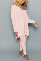 Pink Polyester Fashion adult Ma'am Street Solid Two Piece Suits pencil Long Sleeve Two Pieces