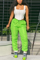 Green Polyester Elastic Fly Sleeveless Mid Patchwork Draped Solid Straight Pants