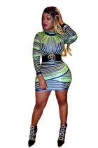 Multi-color Fashion Long Sleeves Turtleneck Slim Dress skirt Print Long Sleeve Dresses