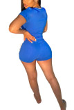 Blue Fashion Casual adult Ma'am Letter Two Piece Suits Straight Short Sleeve Two Pieces