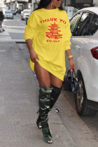 Yellow Polyester Street Cap Sleeve O neck Straight Knee-Length Print Dresses
