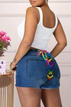 Medium Blue Fashion Casual Solid Strap Design High Waist Regular Jeans