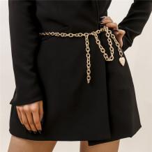 Gold Fashion Solid Geometric Chain Tassel Waist Chain