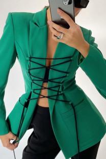 Green Street Polyester Solid Split Joint Frenulum Turn-back Collar Outerwear
