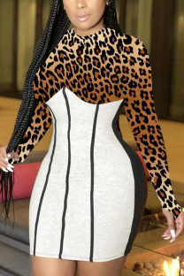 Leopard print Sexy Patchwork Print O Neck Wrapped Skirt Dresses