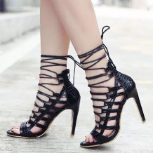Black Sexy Casual Bandage Pointed Out Door Shoes