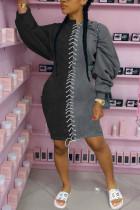 Black Fashion Sexy Polyester Patchwork Solid Bandage Split Joint Basic O Neck Long Sleeve Knee Length Pencil Skirt Dresses