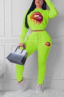 Fluorescent Green Casual Sportswear Print Split Joint Half A Turtleneck Long Sleeve Two Pieces