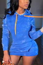 Blue Casual Solid Hooded Collar Long Sleeve Mini Pencil Skirt Dresses