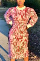 Red Street Print O Neck Long Sleeve Mid Calf Straight Dresses