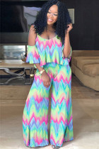 Multi-color Polyester Fashion Casual adult Ma'am Print Tie Dye asymmetrical Gradient ruffle contrast color Two Piece Suits Loose Short Sleeve Two Pieces