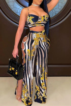 Gold Sexy Casual Print Hollowed Out Backless Spaghetti Strap Sleeveless Two Pieces