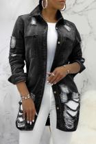 Black Casual Patchwork Ripped Turndown Collar Long Sleeve Regular Denim