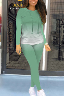 Light Green Fashion Casual Gradual Change Print Basic Hooded Collar Long Sleeve Two Pieces
