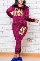Wine Red Polyester Fashion Sexy adult Ma'am O Neck Letter Print Two Piece Suits Stitching Plus Size
