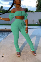 Light Green Casual Patchwork Solid Bandage Fold Strapless Half Sleeve Two Pieces