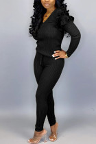 Black Street Solid O Neck Long Sleeve Two Pieces