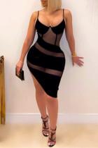 Black Fashion Sexy Patchwork See-through Spaghetti Strap Irregular Dress