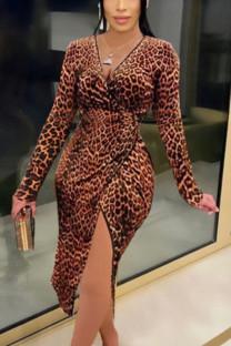 Brown British Style Leopard Slit V Neck Dresses