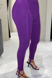Purple Sportswear Solid Regular Bottoms