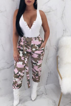 Pink Cotton Zipper Fly Button Fly Mid Metal Zippered pencil Pants Pants