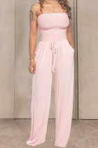 Pink Fashion Casual Solid Draped Cotton Sleeveless Wrapped Jumpsuits