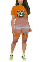 Orange Polyester Fashion Casual O Neck Print Plus Size