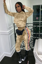 Champagne Polyester Elastic Fly Long Sleeve Mid Patchwork Solid Straight Pants Two-piece suit