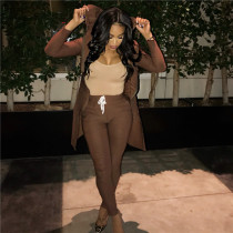 Brown Drawstring Mid Solid pencil Pants Two-piece suit